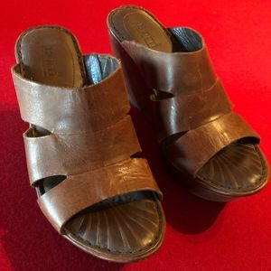 BORN Brown Wedge Sandal